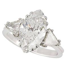 GIA Certified 3.42 Carat Marquise Diamond white gold Ring