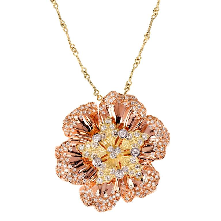 Stambolian Pink and Yellow Gold Diamond Flower Pendant Necklace