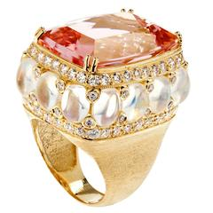 Stambolian Morganite Rainbow Moonstone Diamond Gold Ring