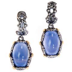 Stambolian Angel Blue Chalcedony Silver Gold Earrings