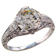 2.27 Carats GIA Diamond Solitaire Art Deco Engagement Ring