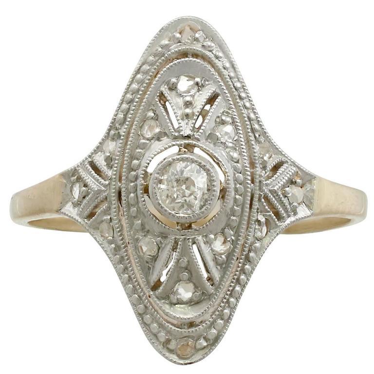 1920s Diamond Yellow Gold Marquise Ring