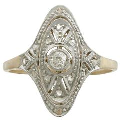 1920s Diamond Yellow Gold Marquise Ring