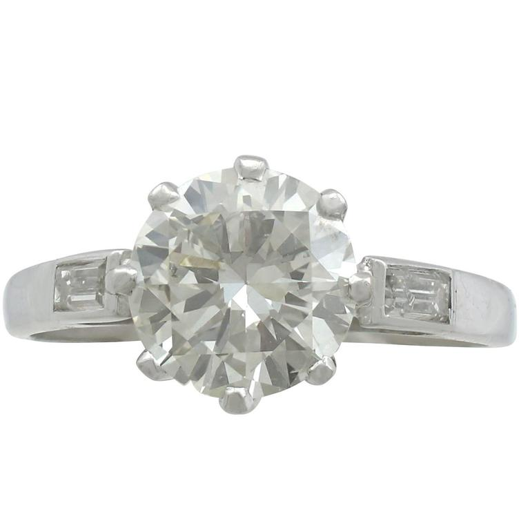 1940s 2.10 Carat Diamond White Gold Solitaire Ring