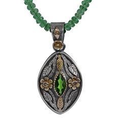 Madison Tsavorite Diamond 18 Karat Gold & Silver Pendant