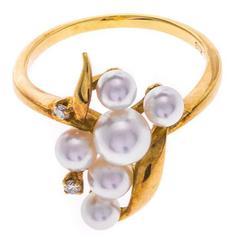 Mikimoto Pearl Diamond Gold Dress Ring