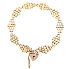 Vintage 1980s 9 Carat Gold Gate Bracelet
