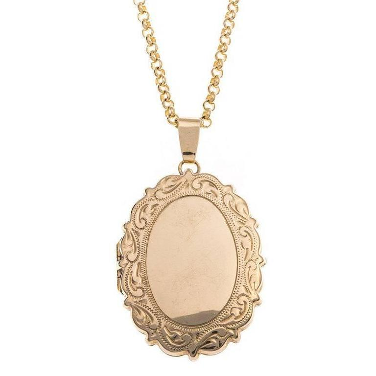 Vintage 9 carat gold large oval locket at 1stdibs vintage 9 carat gold oval locket aloadofball