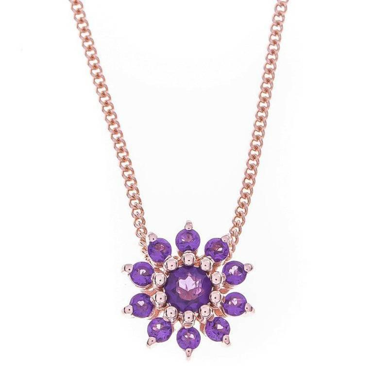 9 Carat Rose Gold Rose and Purple Amethyst Cluster Pendant
