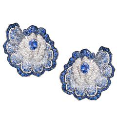 Vanleles Blue Sapphire Diamond Gold Enchanted Garden Earrings