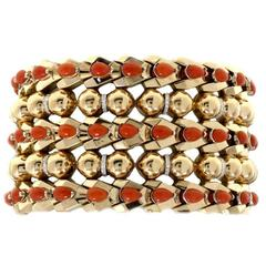Luise Coral Diamond Gold Cuff Bracelet