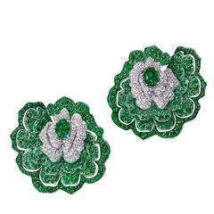 White Gold, White Diamonds and Gemfield Flower Earrings