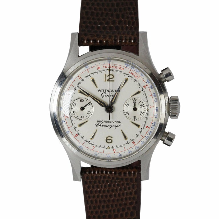 Wittnauer Geneve Stainless Steel Two-Register Chronograph Wristwatch Ref 3256