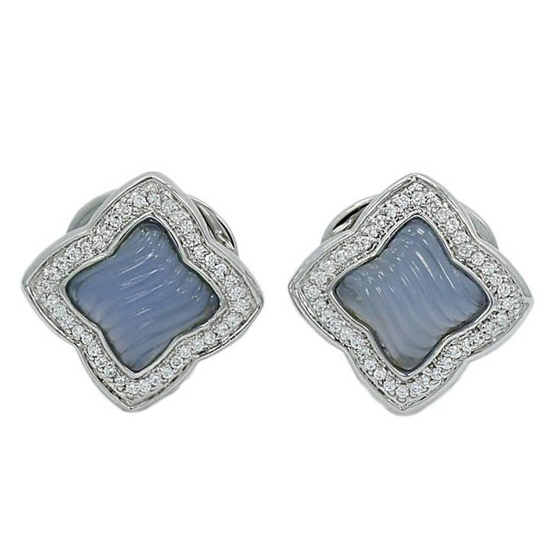 David Yurman Quatrefoil Chalcedony Diamond White Gold Earrings