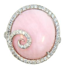 Laura Munder Pink Opal Diamond White Gold Ring