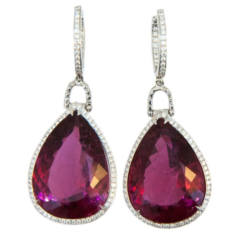 Laura Munder Rubellite Tourmaline Diamond White Gold Drop Earrings For Sale