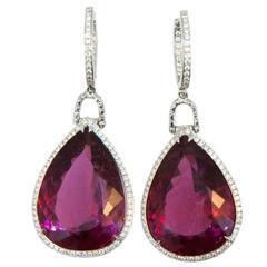 Laura Munder Rubellite Tourmaline Diamond White Gold Drop Earrings