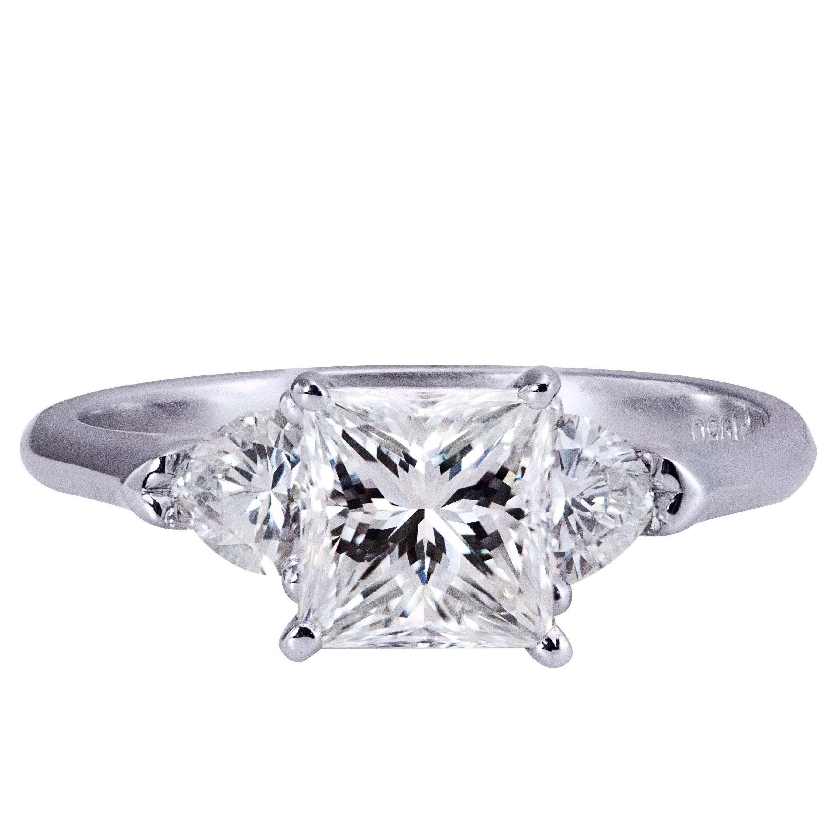 1.32 Carat GIA Certified Diamond Three Stone Engagement Ring