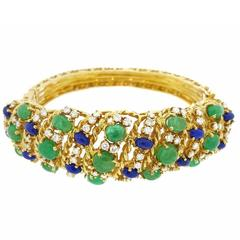 Emerald Lapis Diamond Yellow Gold Wide Bangle Bracelet