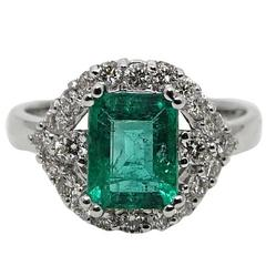 1.83 Carat Emerald Diamond Engagement Ring