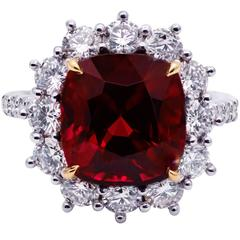 C. Dunaigre Certified 6.92 Carat Natural Spinel and Diamond Cocktail Ring