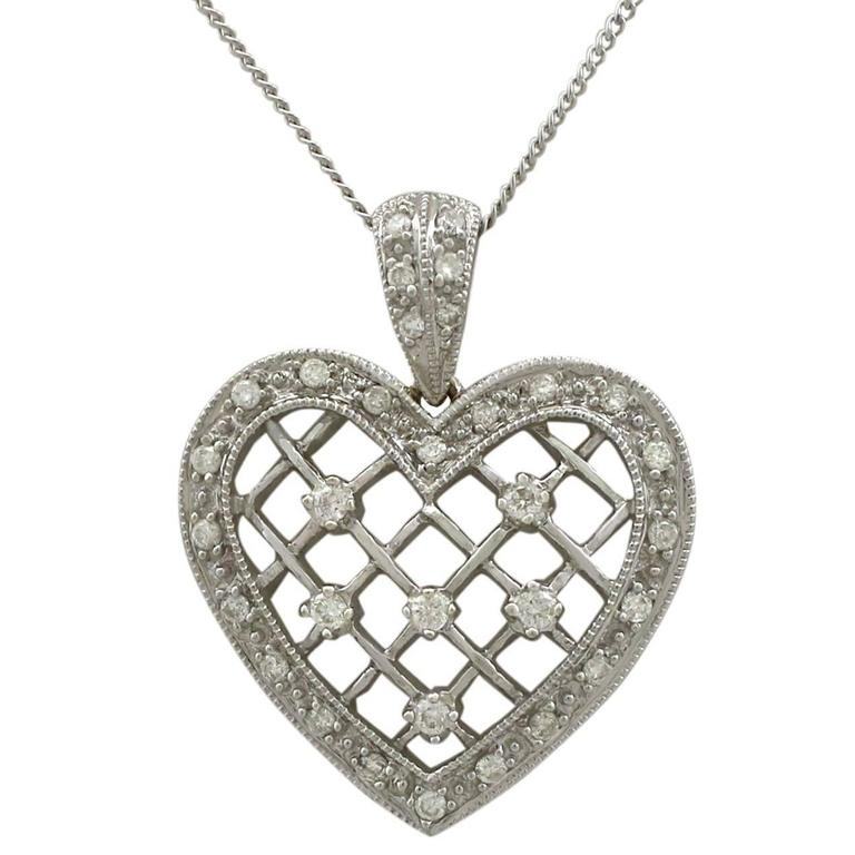1960s Diamond White Gold Heart Pendant