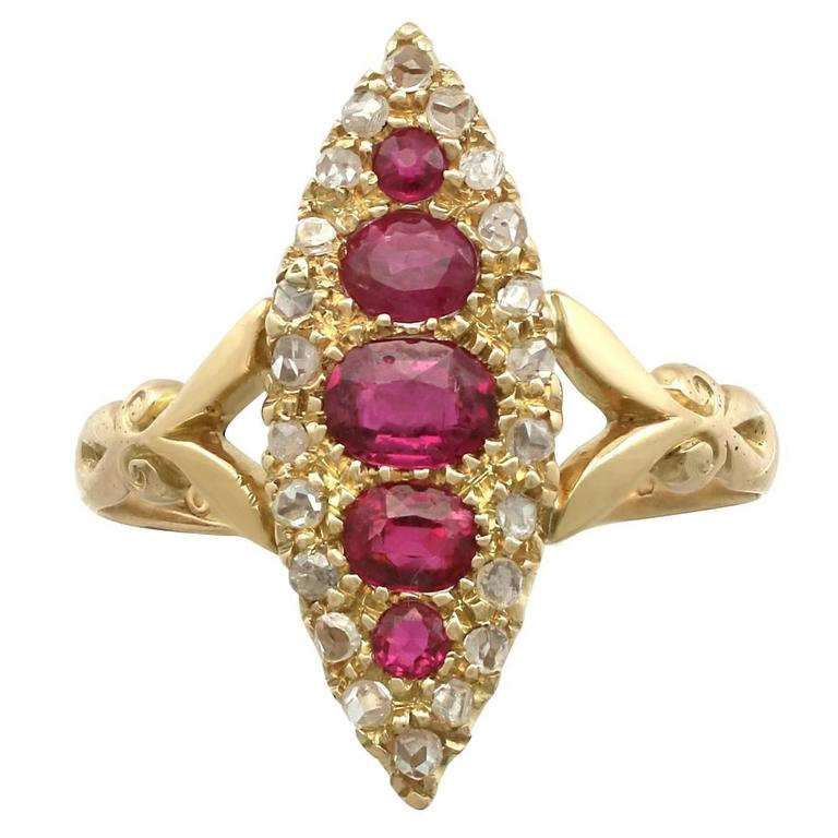 1900s Edwardian Ruby and Diamond, 18 Karat Yellow Gold Marquise Ring
