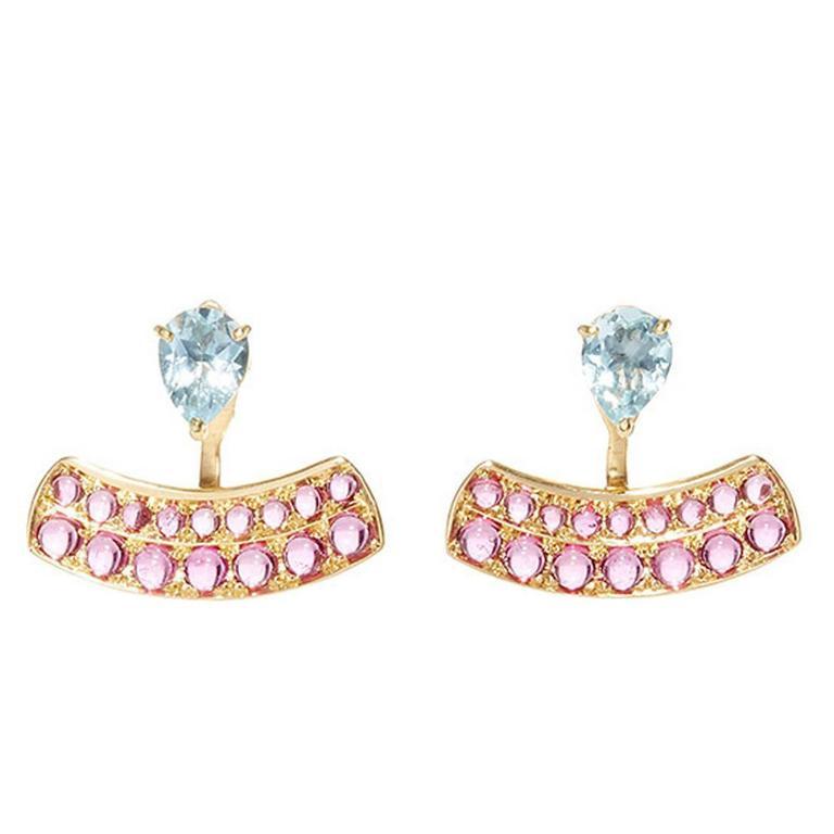 Dubini Theodora Aquamarine Rubellite Yellow Gold Earrings