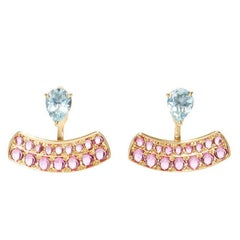 Dubini Theodora Aquamarine Rubellite 18K Yellow Gold Earrings