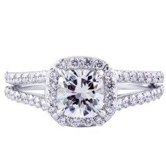 Cushion Cut GIA Certified Diamond Halo Engagement Ring