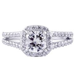Cushion Cut GIA Certified Diamond Halo Engagement Ring