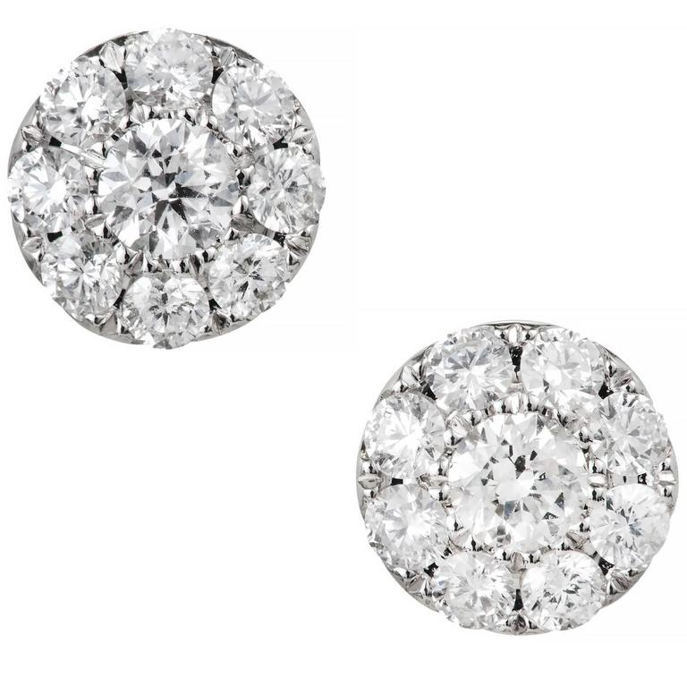 1.23 Carat Round Diamond Gold Cluster Stud Earrings For Sale