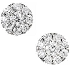 1.23 Carat Round Diamond Gold Cluster Stud Earrings