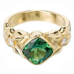2.50 Carat Green Tourmaline Diamond Gold Cocktail Ring