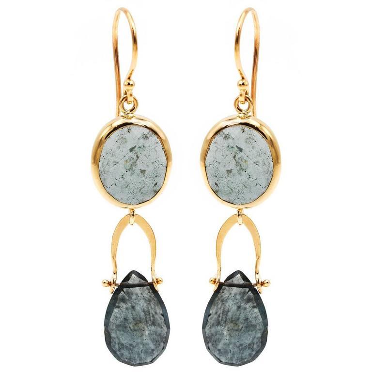 Moss Aquamarine Yellow Gold Drop Earrings