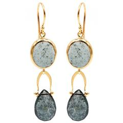 Moss Aquamarine Yellow Gold Drop Earrings