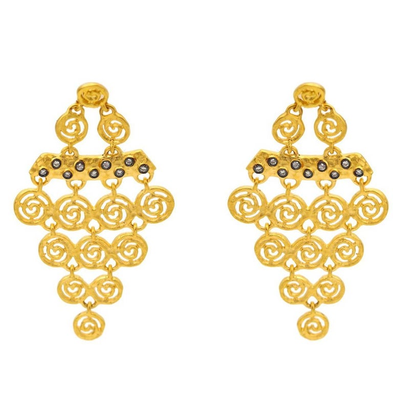 Gold Vermiel Spiral and Diamond Earrings with Post Backs