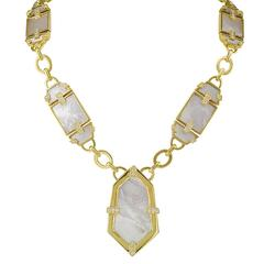 1970s Mother-of-Pearl Diamond Gold Necklace