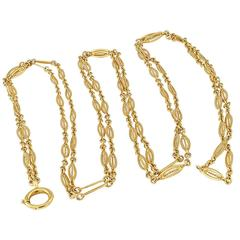 French Antique Long Chain Gold Necklace