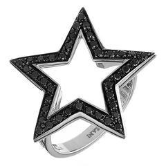 18 Carat White Gold Black Diamonds Star Statement Ring