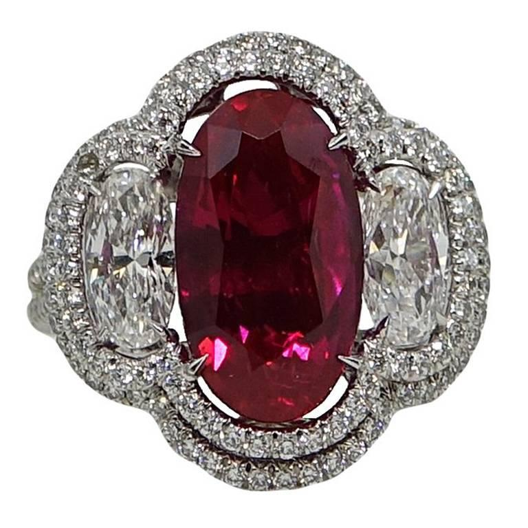 Natural 5.37 Carat No Heat Burma Ruby and Diamond  Engagement Ring