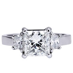 2.01 Carat GIA Certified Diamond Platinum Three Stone Engagement Ring