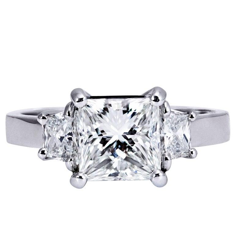 2.01 Carat GIA Certified Diamond Platinum Three Stone Engagement Ring For Sale