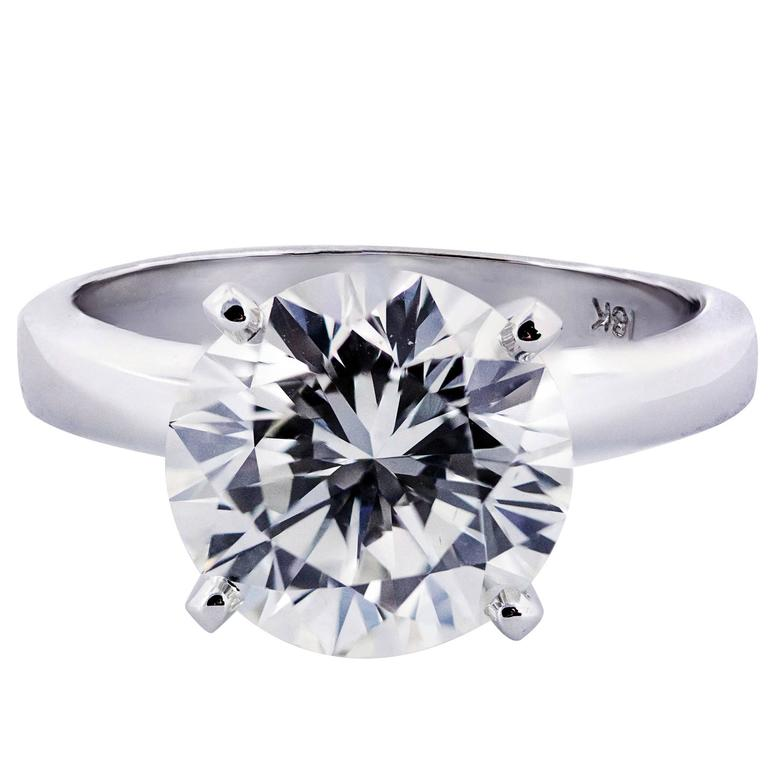 3.68 Carat GIA Certified Diamond White Gold Solitaire Engagement Ring
