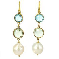 Blue Topaz Green Amethyst Gold Pearl Earrings