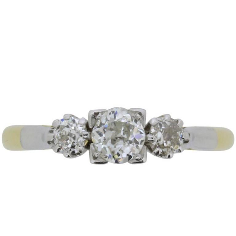 Late Victorian 0.60 Carat Three Stone Old Cut Diamond Ring, circa 1900s