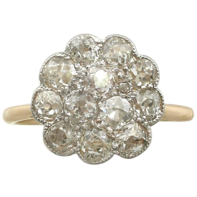 1900s 1.72 Carat Diamond Yellow Gold Platinum Set Cocktail Ring
