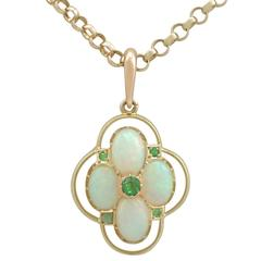 1900s Antique 1.75 Carat Opal and Peridot Yellow Gold Pendant