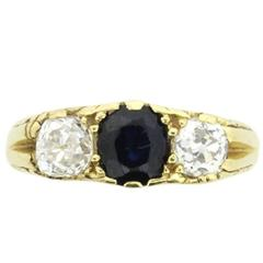 Diamond and Sapphire Three Stone Ring, circa 1930s