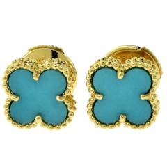 Van Cleef & Arpels Turquoise Sweet Alhambra 18 Karat Gold Earstuds, Certified